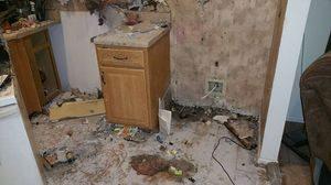 Fire Damage Kitchen Area With Restoration In Progress